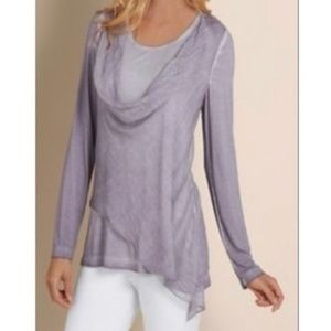 Soft Surroundings Lavender Silk Overlay Knit Top